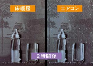 床暖房とエアコンの比較実験 (2時間後)