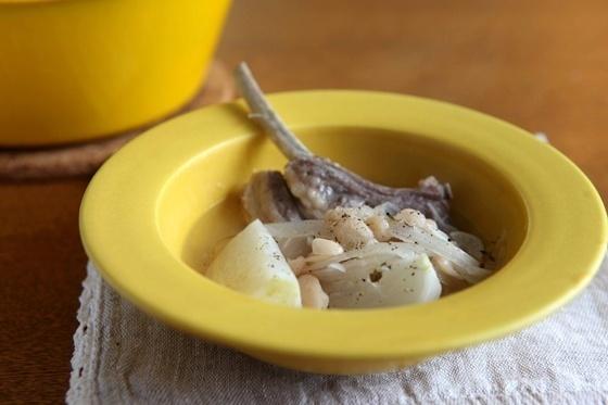 ラムとかぶとインゲン豆の煮込み