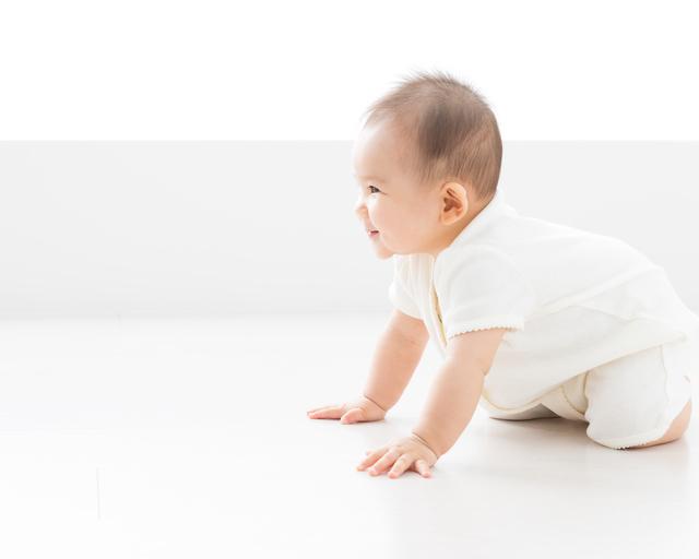 ハイハイをしようとする赤ちゃん