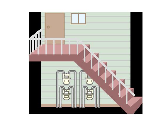 ガスメーターの場所のイメージ(階段下)