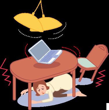 地震でテーブルの下に避難する