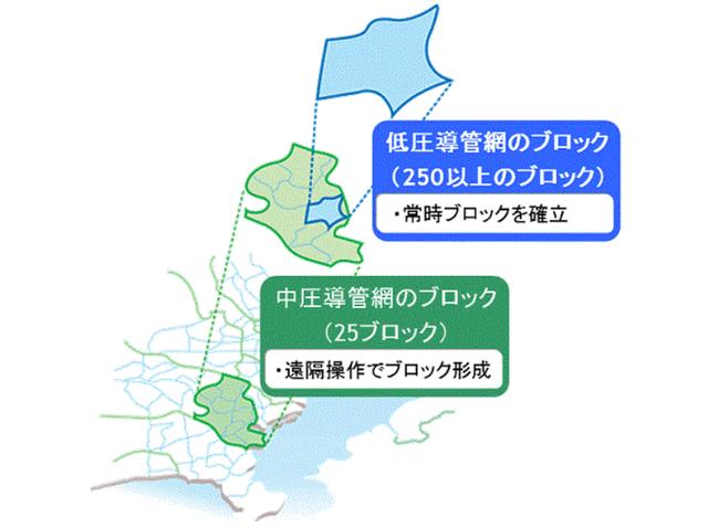 東京ガス供給エリアのブロック分け図