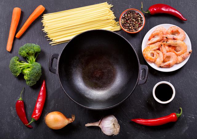 中華鍋と食材