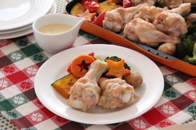 チキンと彩り野菜のグリル ハニーマヨソース添え