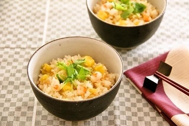 海老とさつま芋の炊き込みご飯