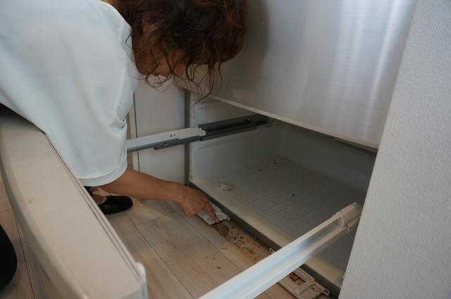 冷蔵庫の床付近の掃除