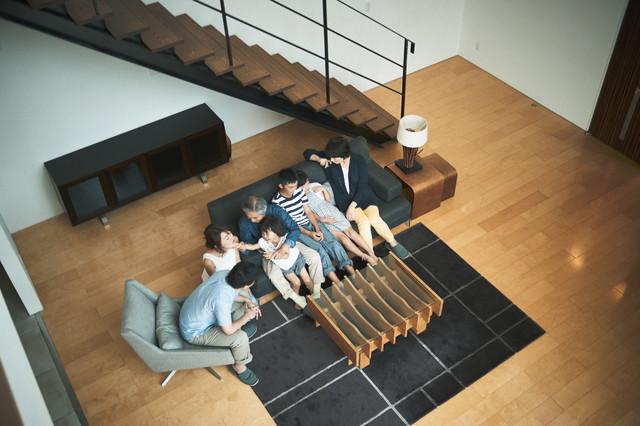 上から撮った家族写真