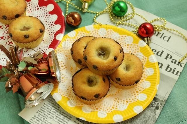 バナナとチョコチップのミニケーキ