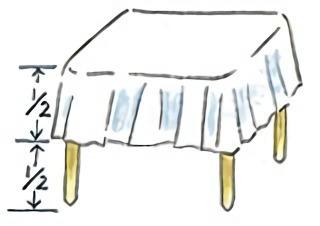 テーブルクロスを垂らす目安