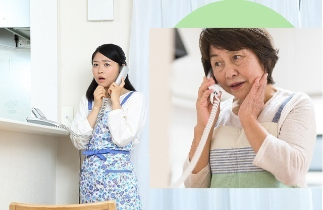電話する親子