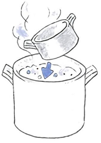 銅鍋を煮沸する