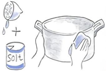 ナチュラルクリーニングで銅鍋を磨く