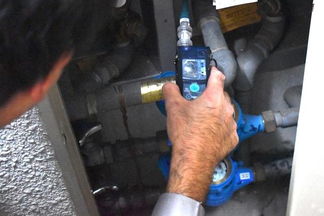 ガスメーター周辺のガス漏れ確認