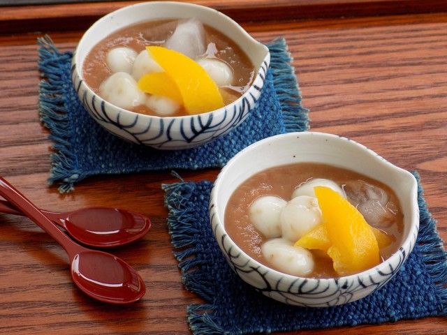 フルーツの冷たいお汁粉