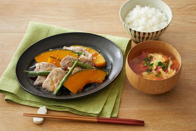 塩豚とかぼちゃの重ね蒸しとトマトのかき玉スープ