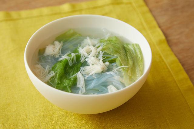 レタスとホタテの春雨スープ