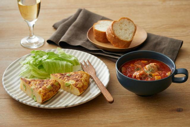 「枝豆とじゃがいものスペイン風オムレツ」と「鶏団子のトマトスープ」