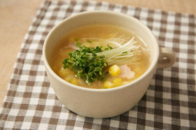 スプラウトととうもろこしのスープ