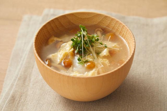 たたき長芋と卵のふんわりスープ