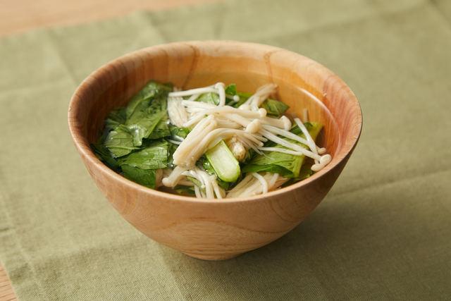 小松菜とエノキのお吸い物
