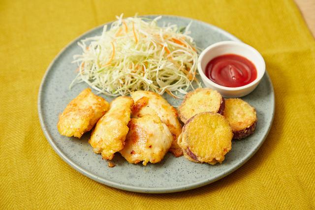 鶏肉とサツマイモのチーズピカタ