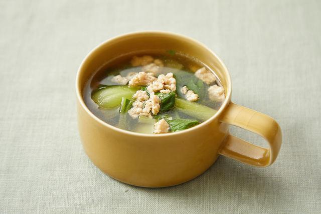 鶏そぼろの洋風スープ