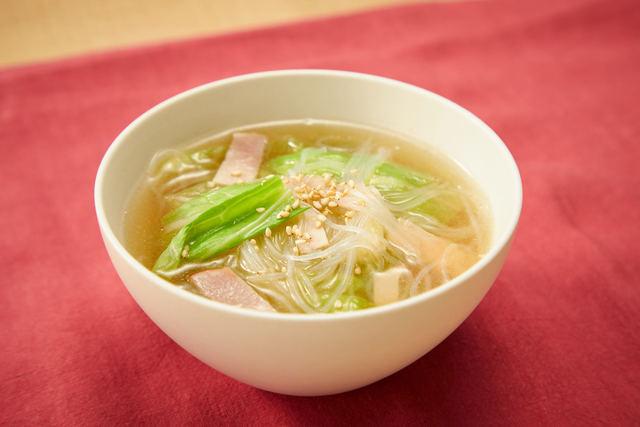 キャベツの中華春雨スープ