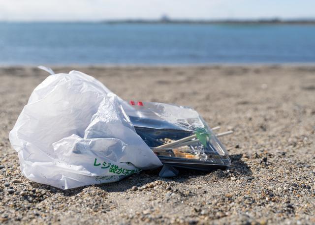 浜辺に捨てられたゴミ