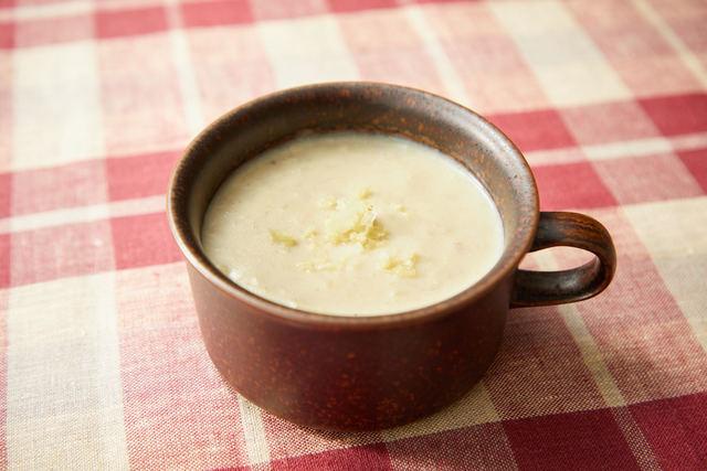 里イモとショウガの豆乳ポタージュ