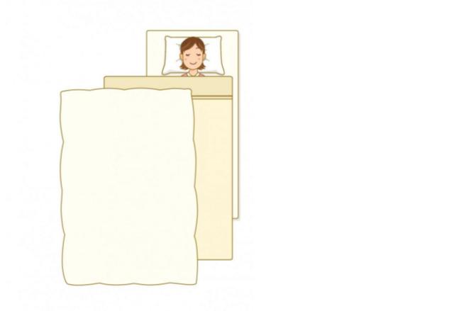 掛布団と毛布を掛けて寝る