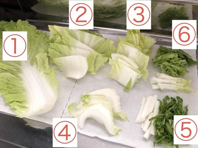 白菜の様々な切り方