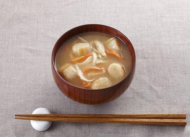 「さきいかと焼き麩のきんぴら味噌汁」