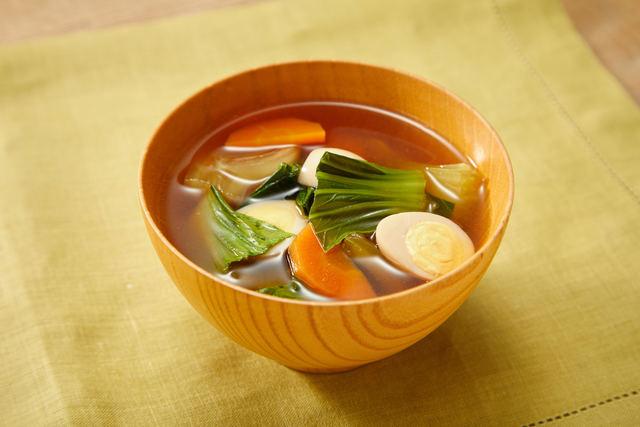チンゲン菜とにんじんの和風スープ