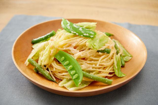グリーン野菜とタラコのパスタ