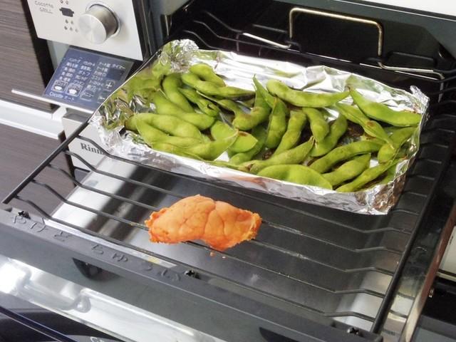 グリルで枝豆とたらこを焼く