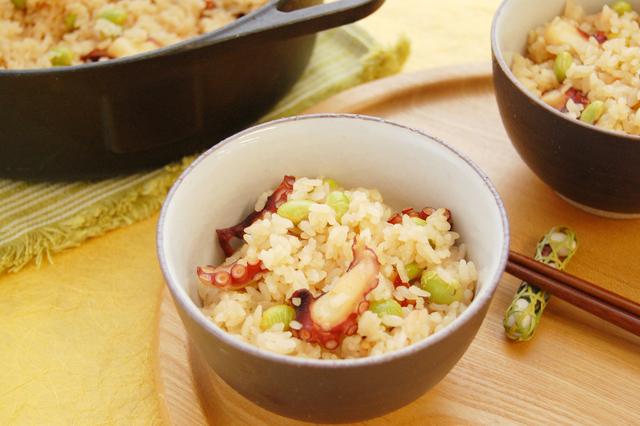 たこと枝豆の炊き込みご飯