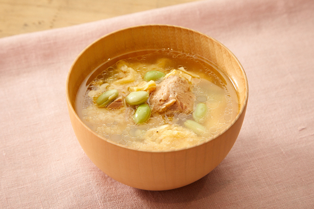 ツナと枝豆の卵スープ