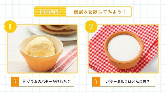 バターとバターミルクを観察&記録してみよう