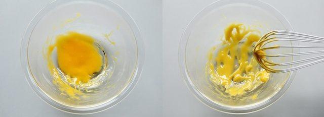 卵黄、塩、酢を混ぜ合わせている様子