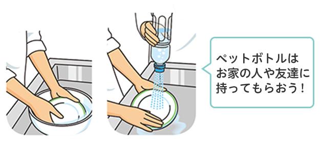 洗いおけのため水に食器をくぐらせ、ペットボトルじょうろの水で食器を洗い流す様子