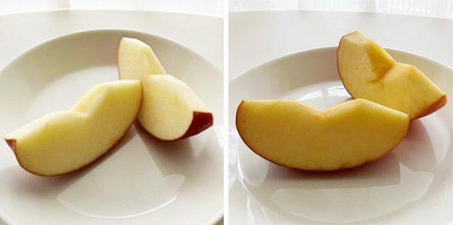 切ってすぐのりんごと30分ほど経ったりんごの比較