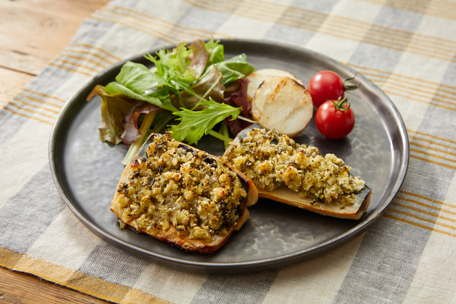 鯖のガーリックパン粉焼き