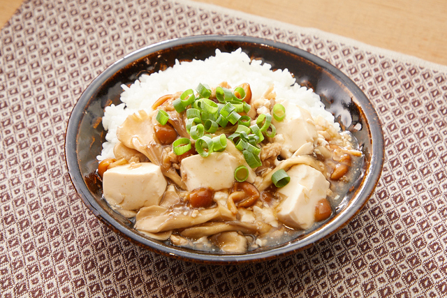 きのこと豆腐のあんかけ丼