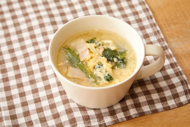 ほうれん草のふわたまスープ