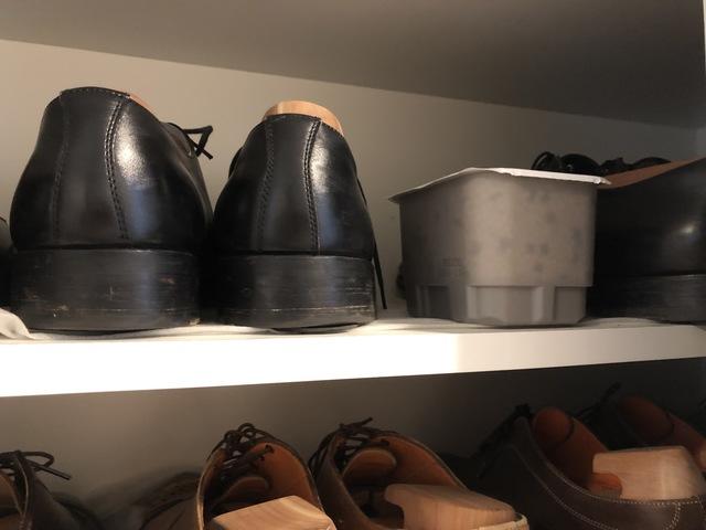 玄関の靴箱に置かれた除湿剤