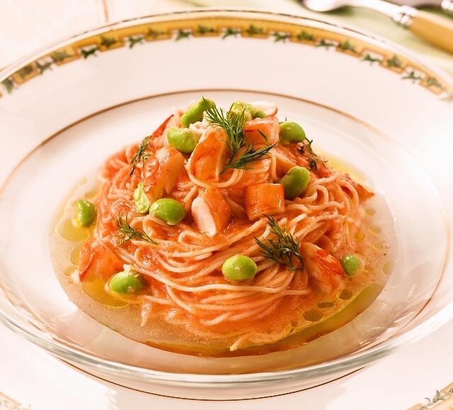 エビと枝豆の冷製カッペリーニ