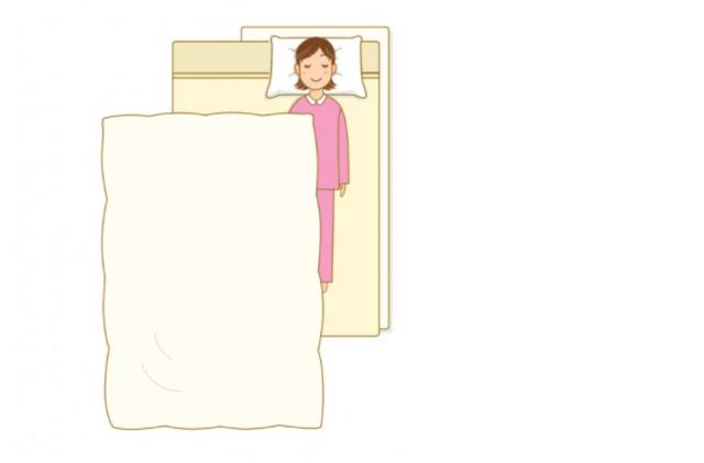 毛布を敷いて寝る