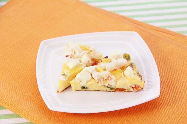 カニとチーズのオープンオムレツ