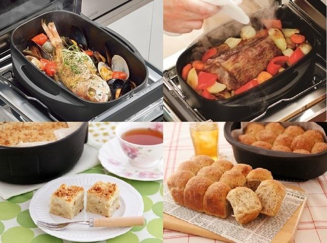 魚焼きグリルでダッチオーブンを使った調理例