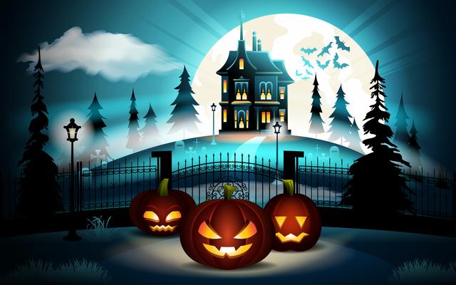 ハロウィンのカボチャとお屋敷